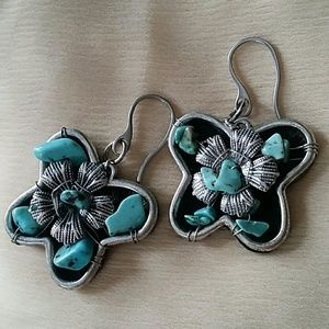 Silver Plated  Butterfly Earrings with Tourqose